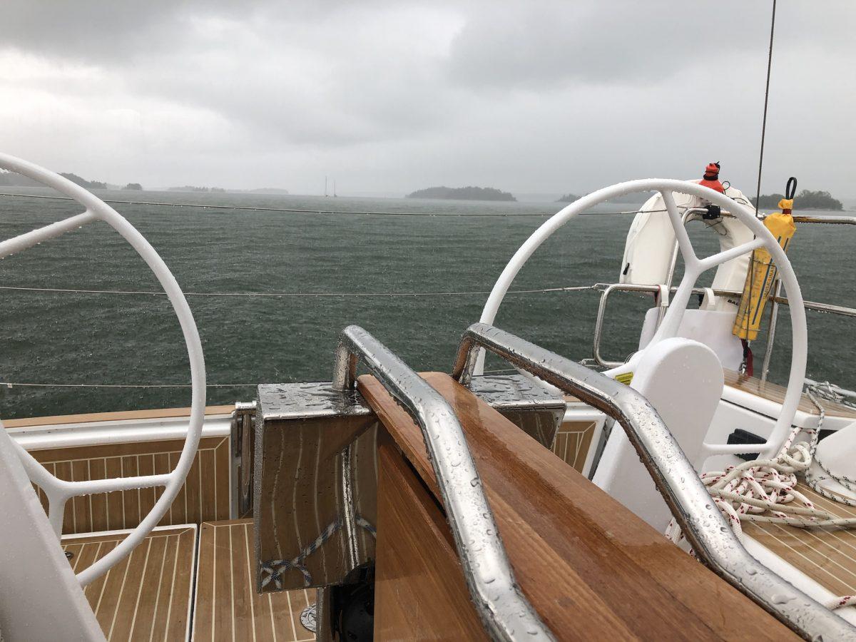 Rain sailing to Stockholm