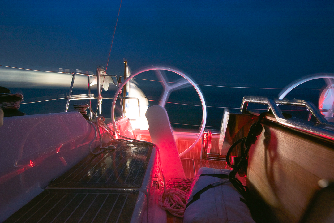 Charlotte night sailing towards Rønne.